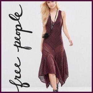 NWT Free People Lace Asymmetrical Hem Maxi Dress